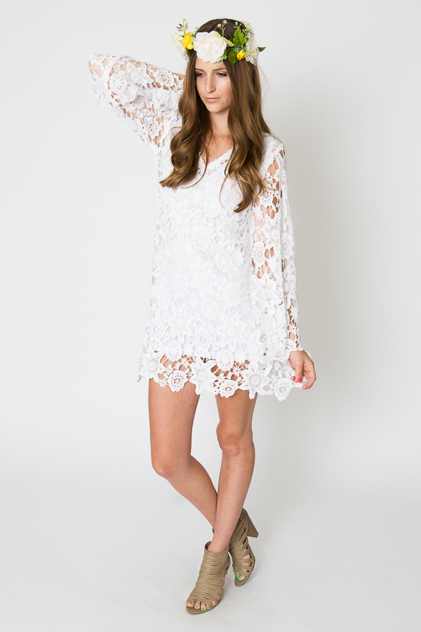 ce8b67fd885 Bohemian White Bell Sleeves Lace Dress | Dreamers and Lovers