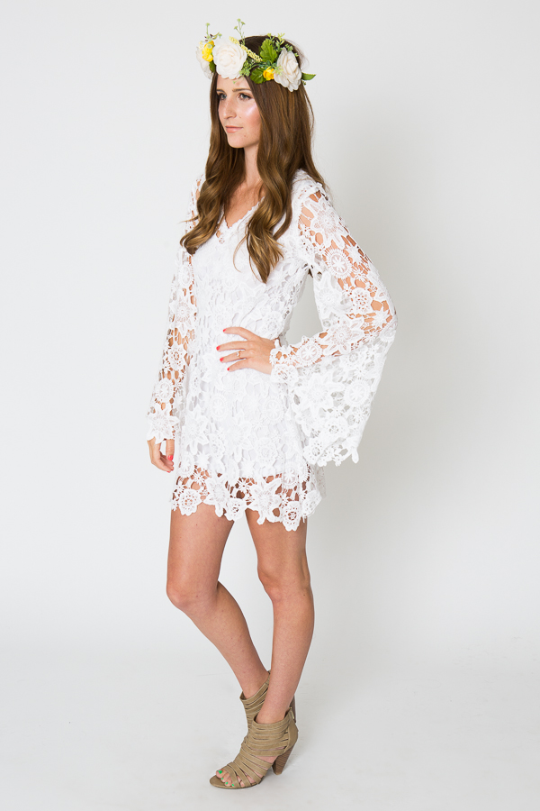 Bohemian White Bell Sleeves Lace Dress