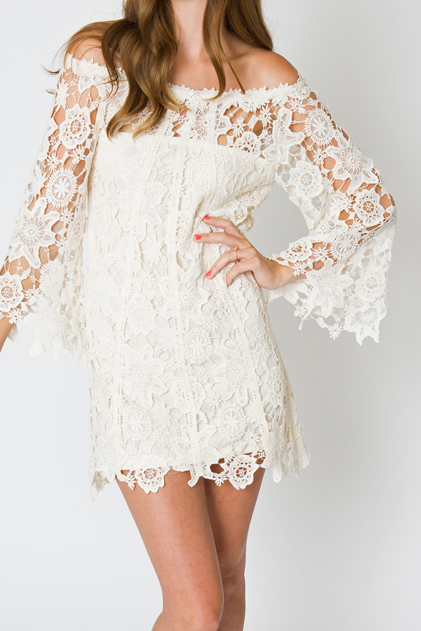 Ivory Boho Lace Dress Close Up Detail Dreamers And Lovers