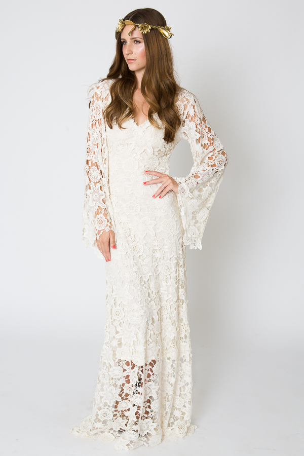 racquel bell sleeve lace maxi dress dreamers and lovers