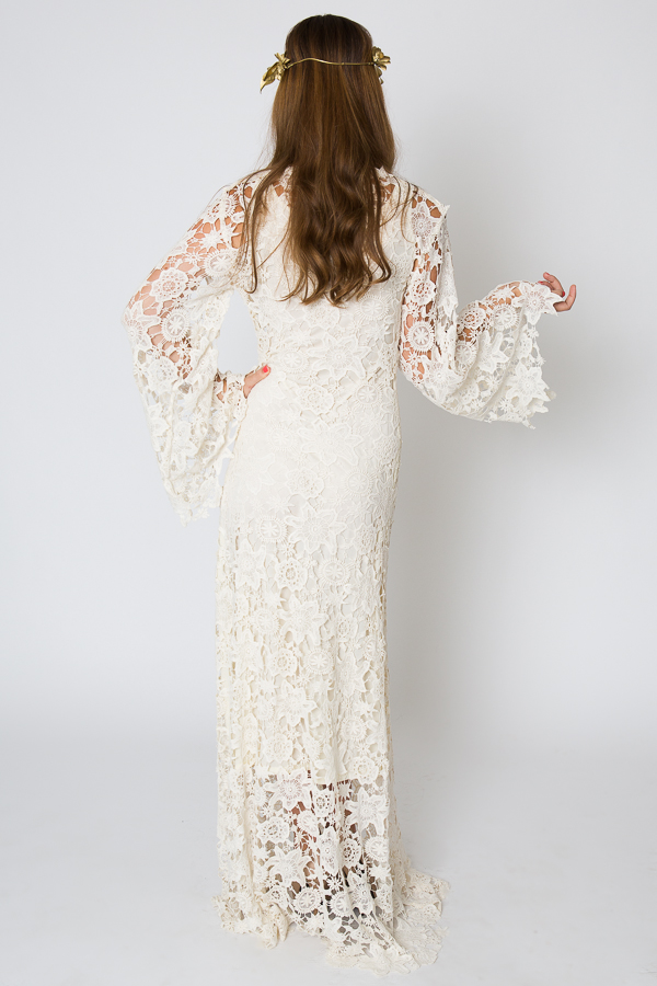 Racquel bell sleeve lace maxi dress dreamers and lovers for Lace maxi wedding dress