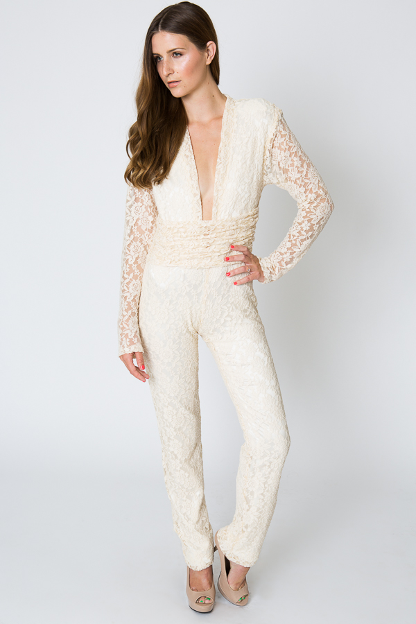 long sleeve lace jumpsuit alternative wedding look