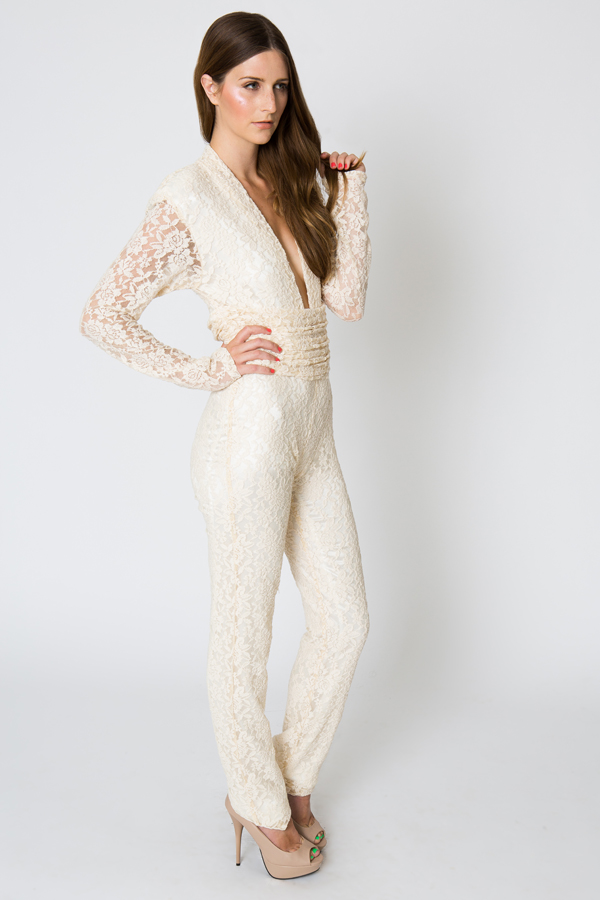 Lace evening jumpsuit 70s style glamour dreamers and lovers