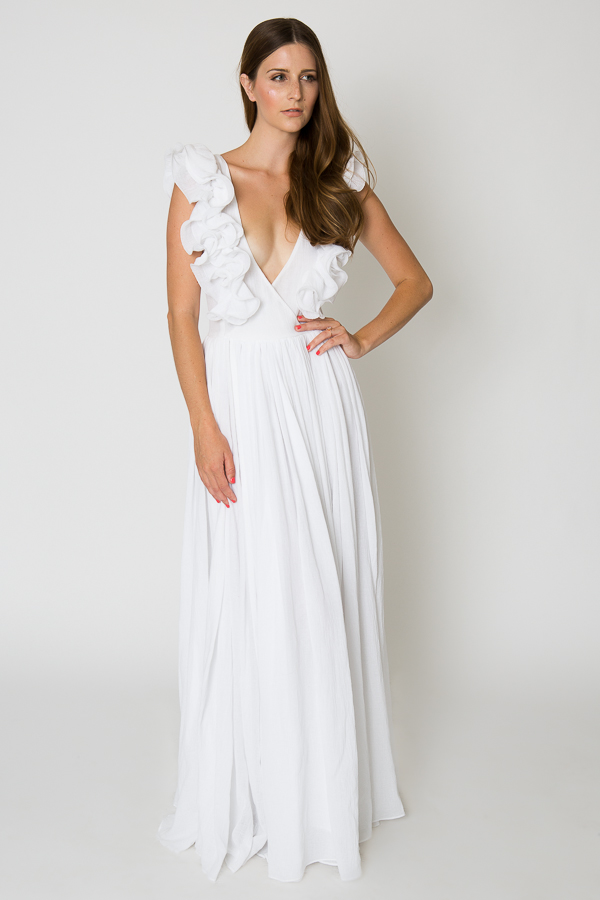 Ruffle white maxi dress cotton wedding dress for Long maxi dresses for weddings