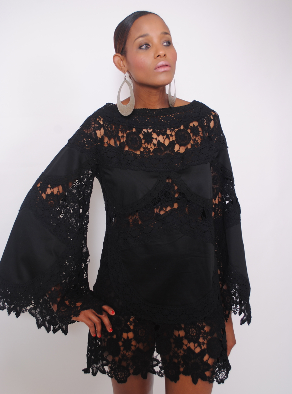 NEW IN: Black Bohemian Bell Sleeve Lace Dress