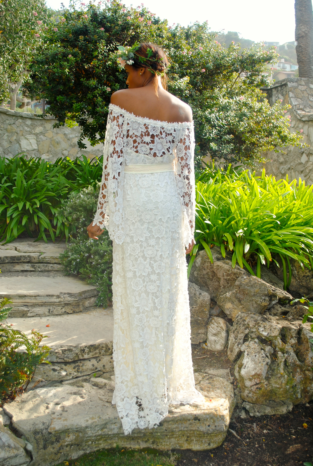 Off Shoulder Boho Maxi Lace Dress Bohemian Chic