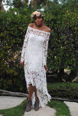 hippie-wedding-dress-off-shoulder-crochet-lace-with-high-low-hem