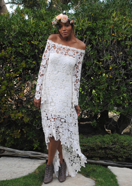hippie-wedding-dress-off-shoulder-crochet-lace-with-high-low-hem