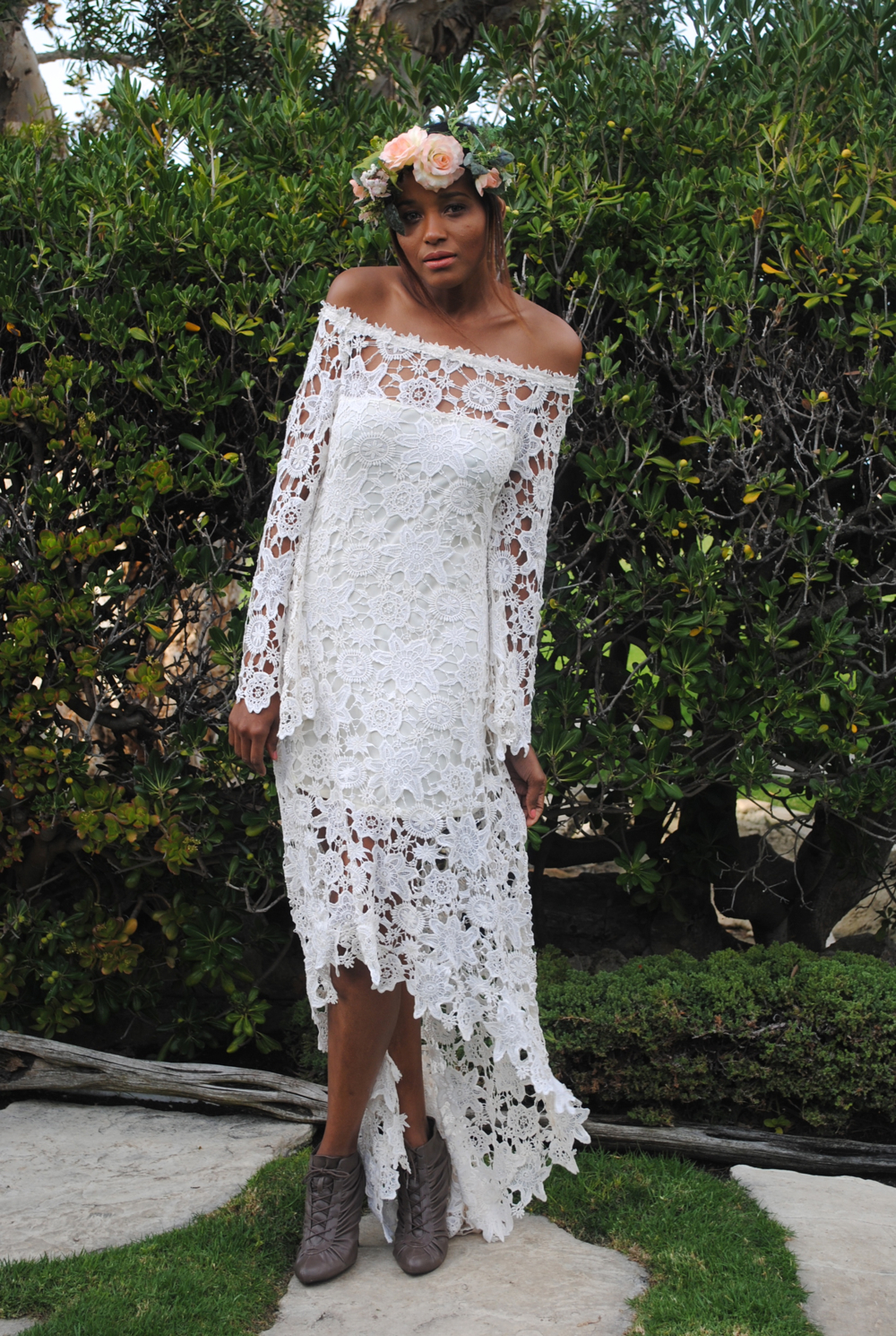 high low bohemian lace dress hi low wedding dress hippie wedding dress off shoulder crochet lace with