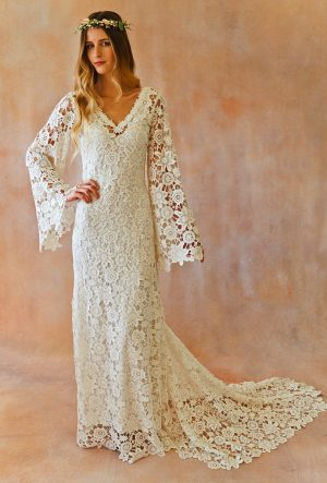 boho-wedding-dress-white-or-ivory-crochet-lace-with-train-long-bell-sleeves