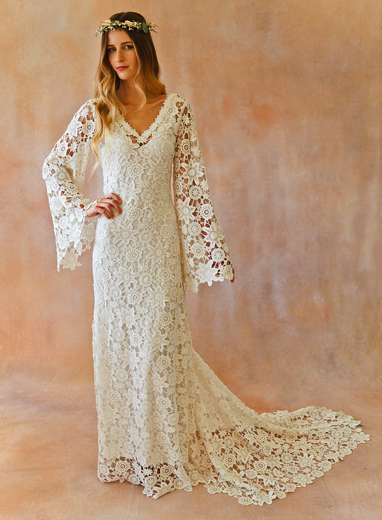 Boho Crochet Bell Sleeves Lace Gown | Dreamers and Lovers