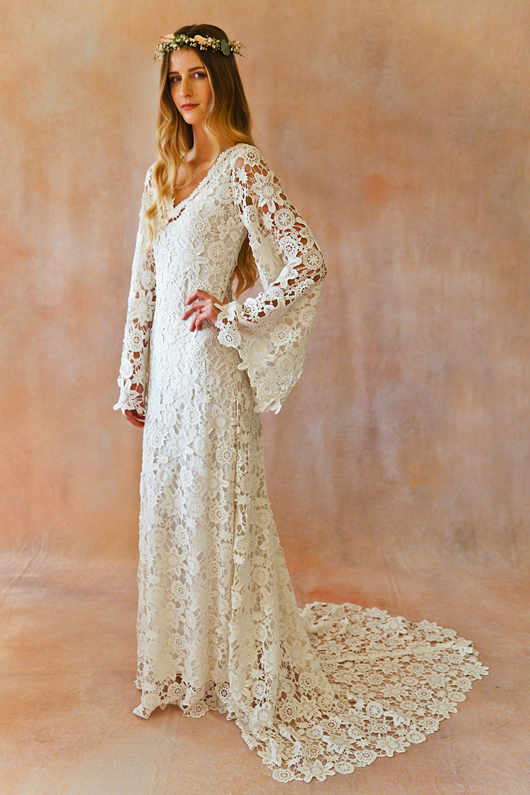 Boho crochet style lace gown with bell sleeves dreamers for Lace sleeve wedding dresses