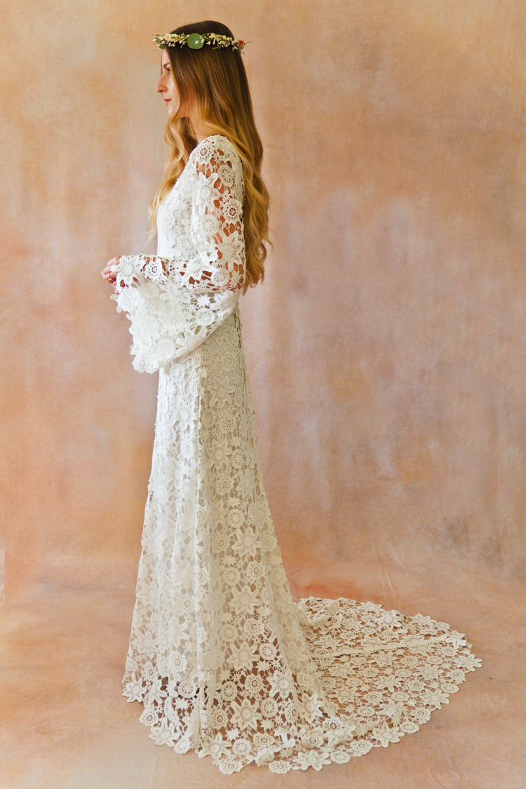 Boho Wedding Dress S Perth : Boho crochet style lace gown with bell sleeves dreamers and lovers