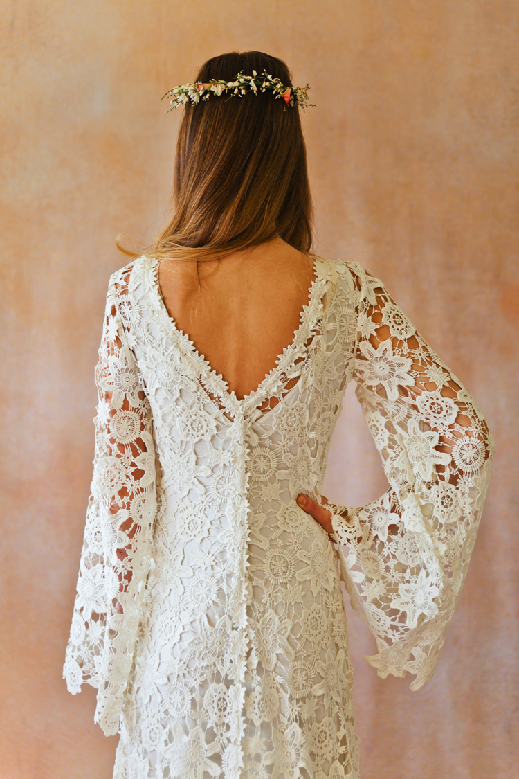 Boho Crochet Style Lace Gown With Bell Sleeves Dreamers