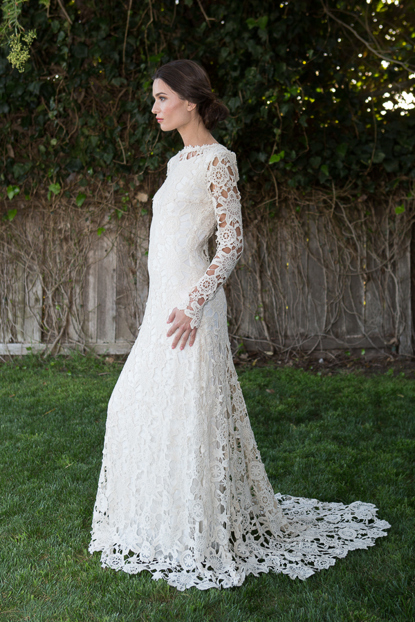 Long Sleeve Crochet Lace Boho Wedding Dress Plunge