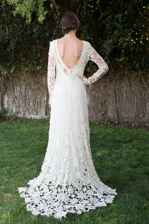 Low Back Crochet Lace Wedding Dress | Bohemian Wedding Dress ...
