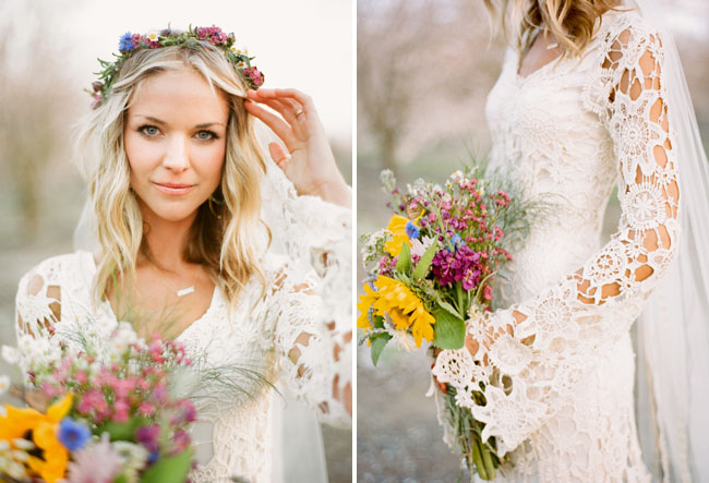 bohemian-bride-wearing-boho-wedding-dress-crochet-with-bell-sleeves