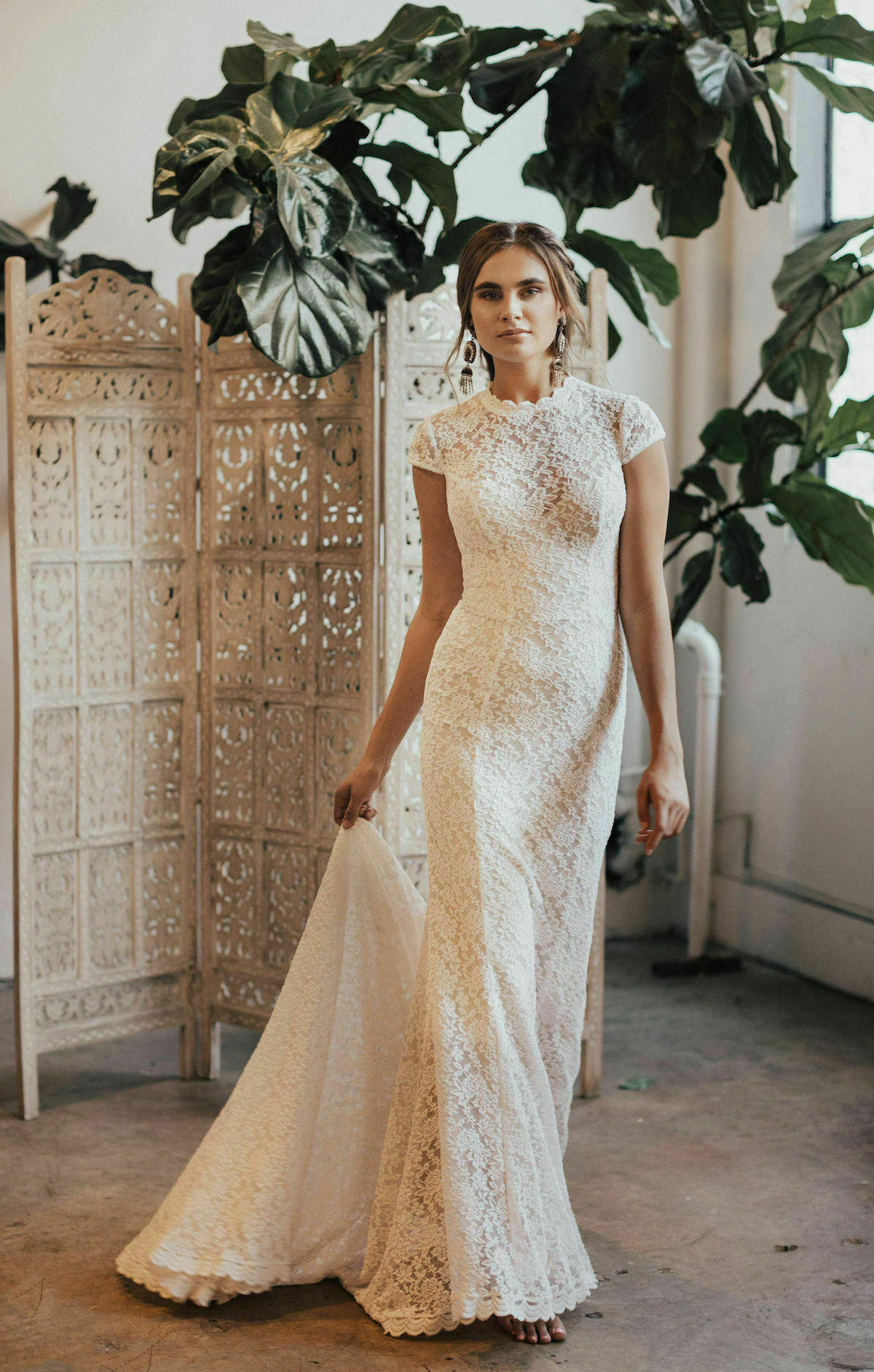 3babd330d Agnes Lace Cap Sleeve Wedding Dress | Dreamers and Lovers