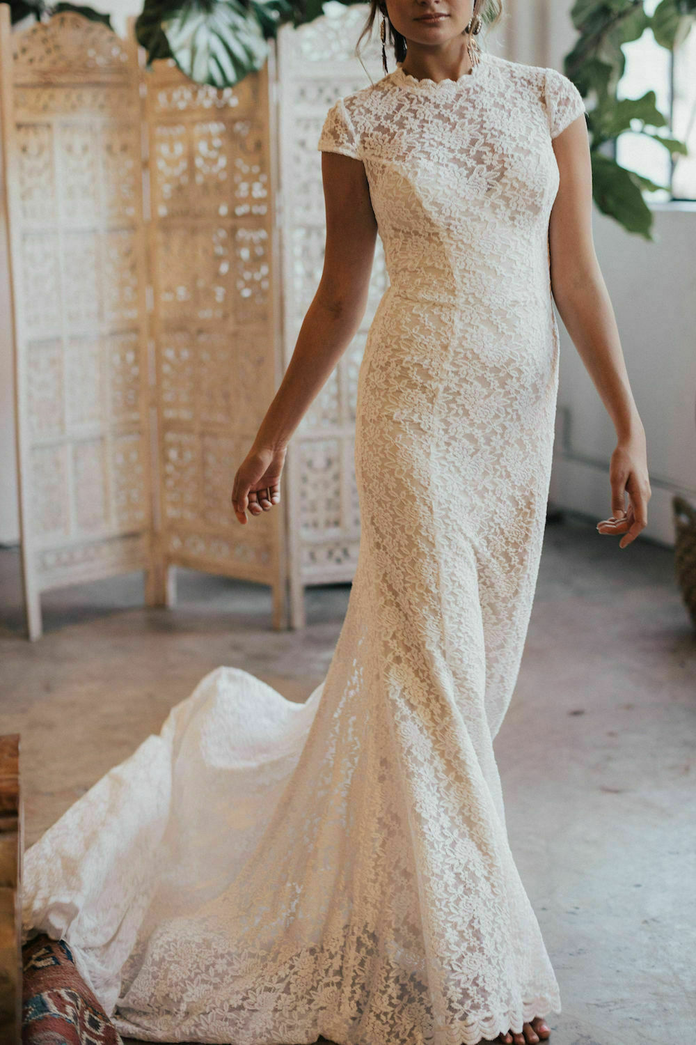 Agnes Lace Cap Sleeve Wedding Dress Dreamers And Lovers