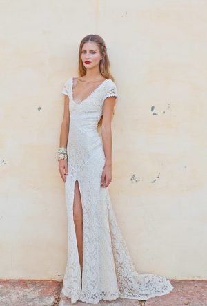 simple-lace-bohemian-wedding-dress-with-front-slit