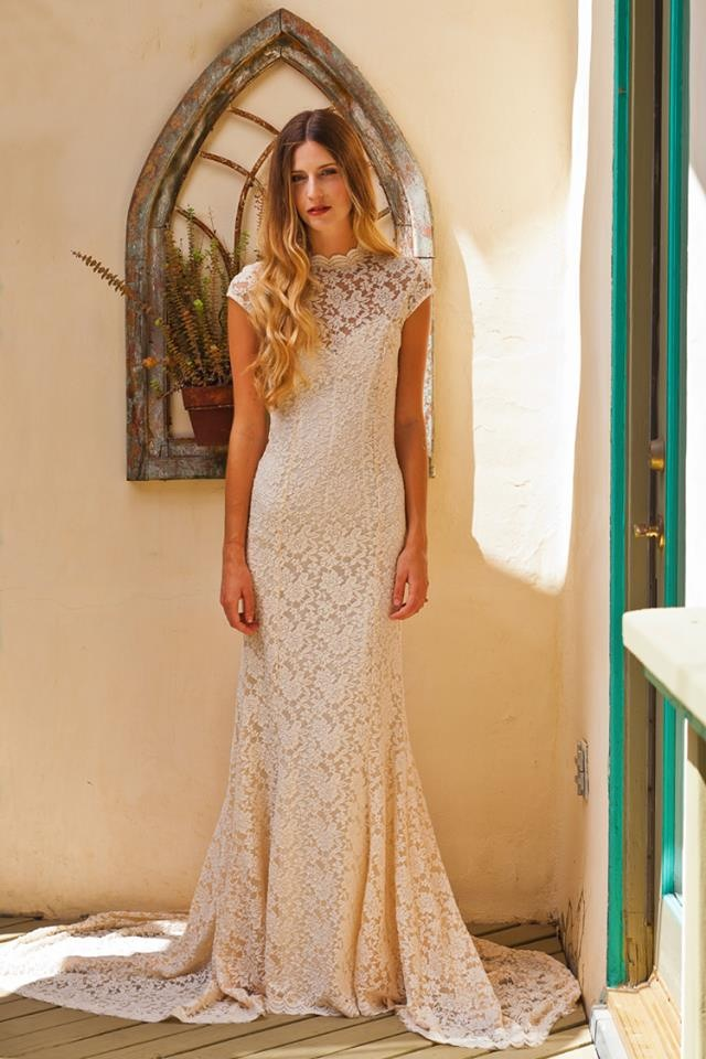 Agnes Simple Lace Wedding Dress With Cap Sleeve