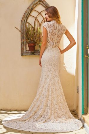 agnes-stretch-lace-cap-sleeve-wedding-dress-back-view