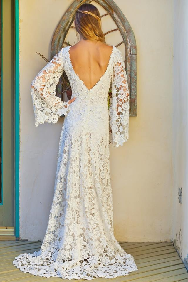 Charlotte low back wedding dress bohemian wedding for Backless boho wedding dress
