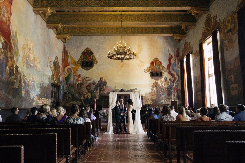 boho-wedding-santa-barbara-courthouse-bride-wearing-bohemian-wedding-gown-lace