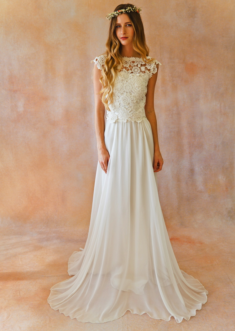 Bridal separates crochet lace silk dreamers and lovers for Wedding dress skirt and top