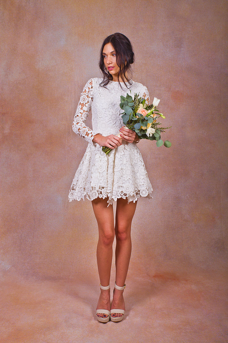 Daniela Short Lace Boho Wedding Dress | Dreamers and Lovers