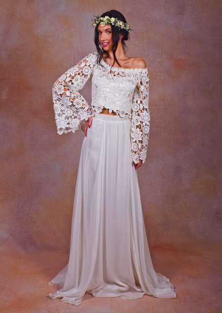 2-piece-bell-sleeve-chiffon-skirt-boho-wedding-dress