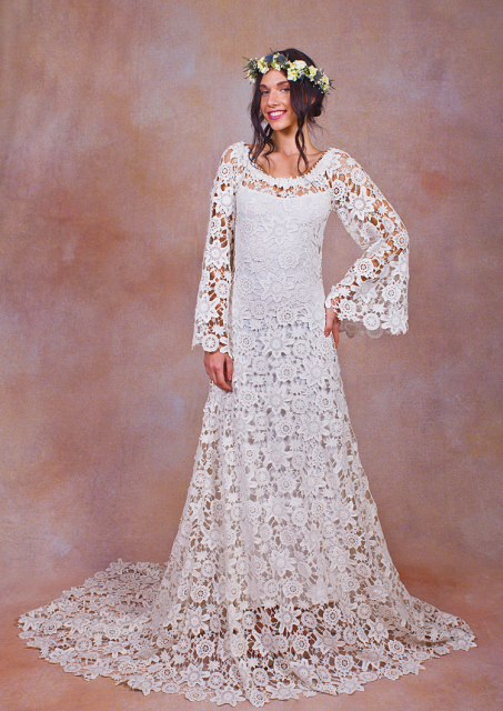 bell-sleeve-lace-crochet-wedding-dress-worn-off-shoulder