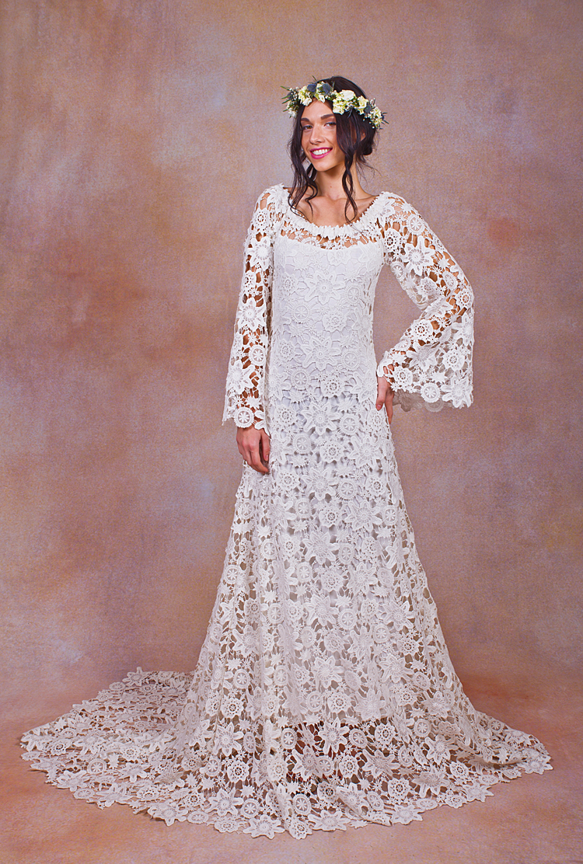 bell-sleeve-lace-crochet-wedding-dress-worn-off-shoulder