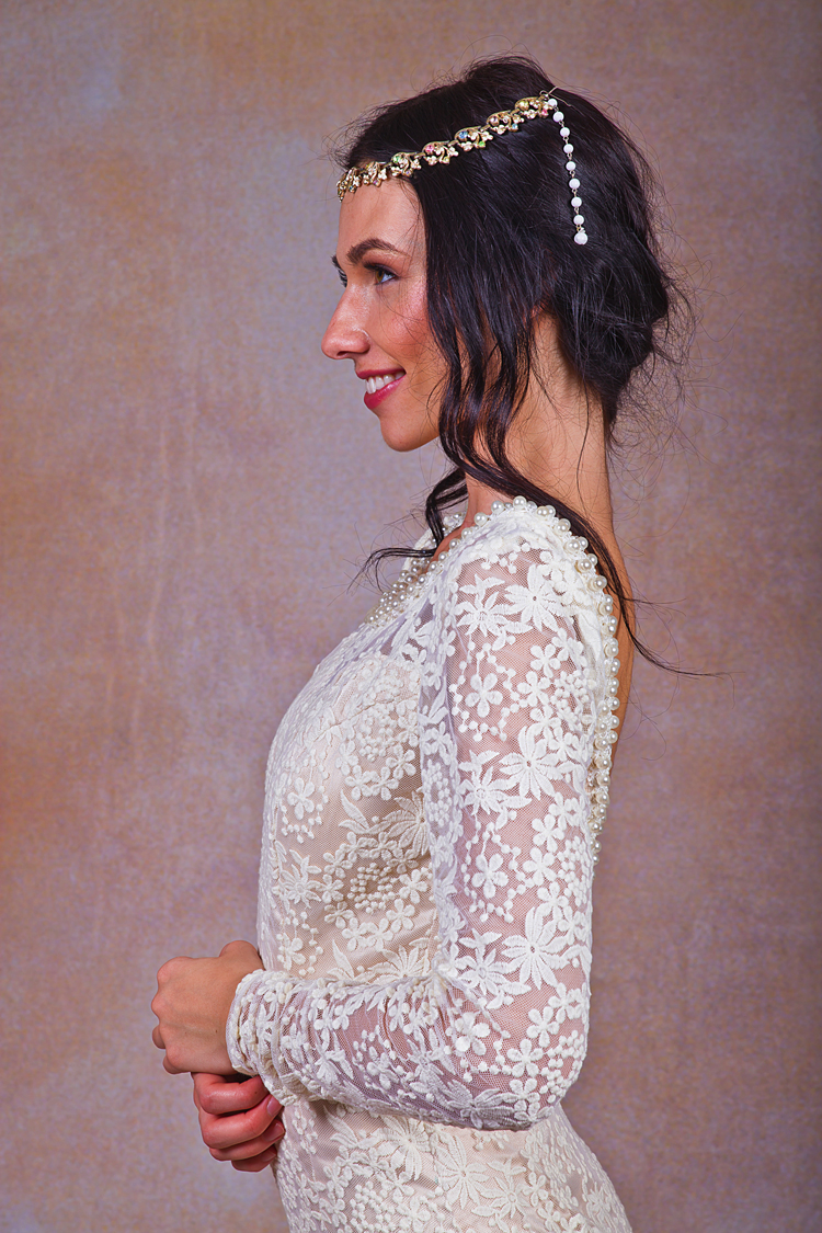 close-up-lace-bohemian-beaded-backless-wedding-dress