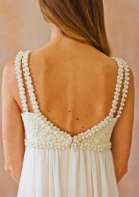 close-up-back-view-ava-silk-lace-chiffon-boho-wedding-dress