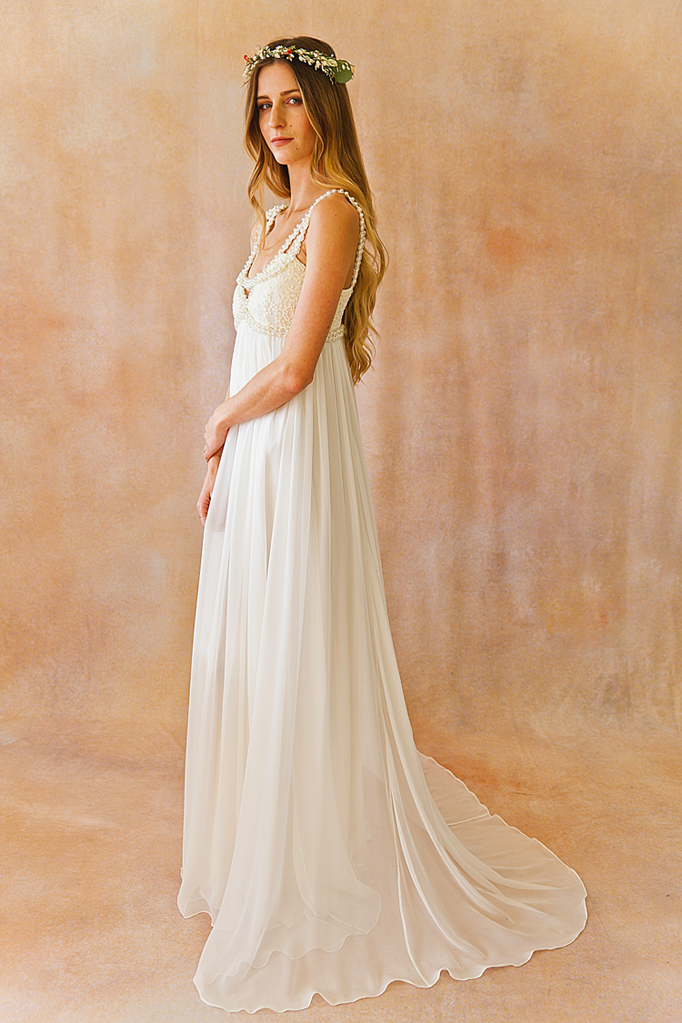 Embellished bohemian wedding dress dreamers and lovers ava silk beaded bohemian luxe wedding gown with junglespirit Gallery