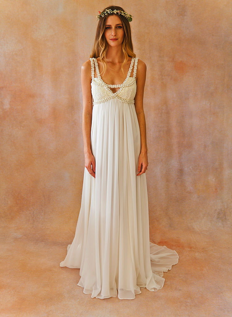 Flowy Silk Chiffon Bohemian Beach Wedding Dress