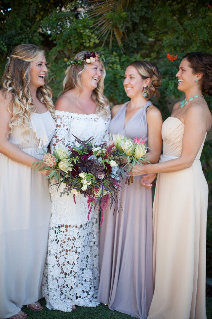 bohemian-bridesmaids-with-bride-Taylor-wearing-Holly-boho-wedding-dress