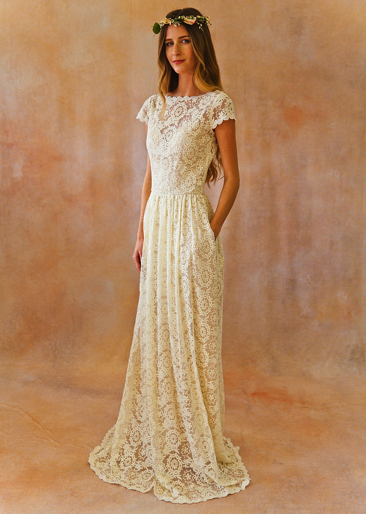 Simple lace low back wedding dress dreamers and lovers for Simple lace wedding dress
