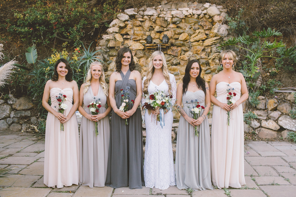 bohemian-bride-and-bridesmaids-in-mismatched-dresses