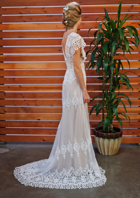 Azalea Draped Cotton Lace Wedding Dress Dreamers And Lovers