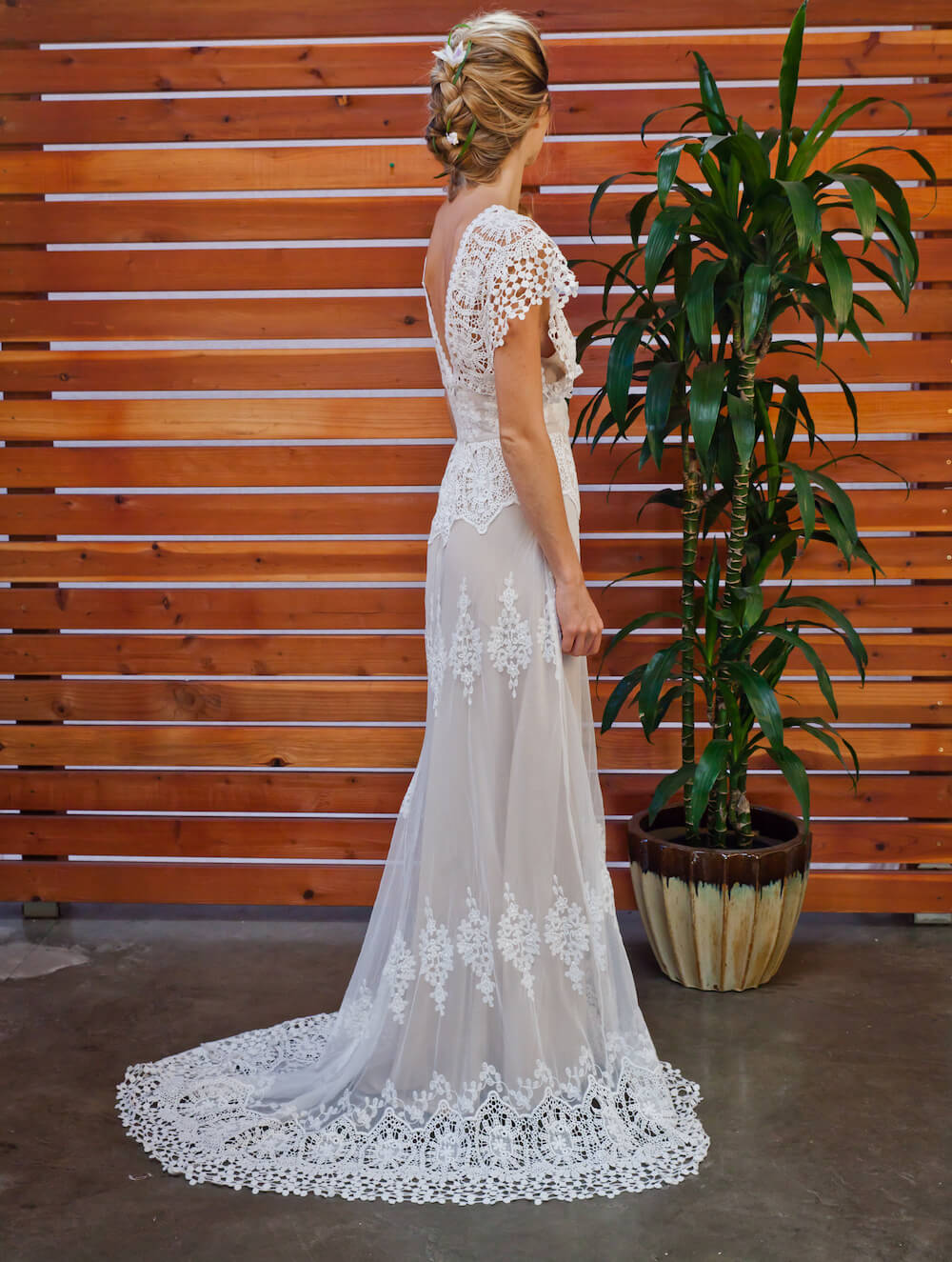 Azalea Draped Cotton Lace Wedding Dress