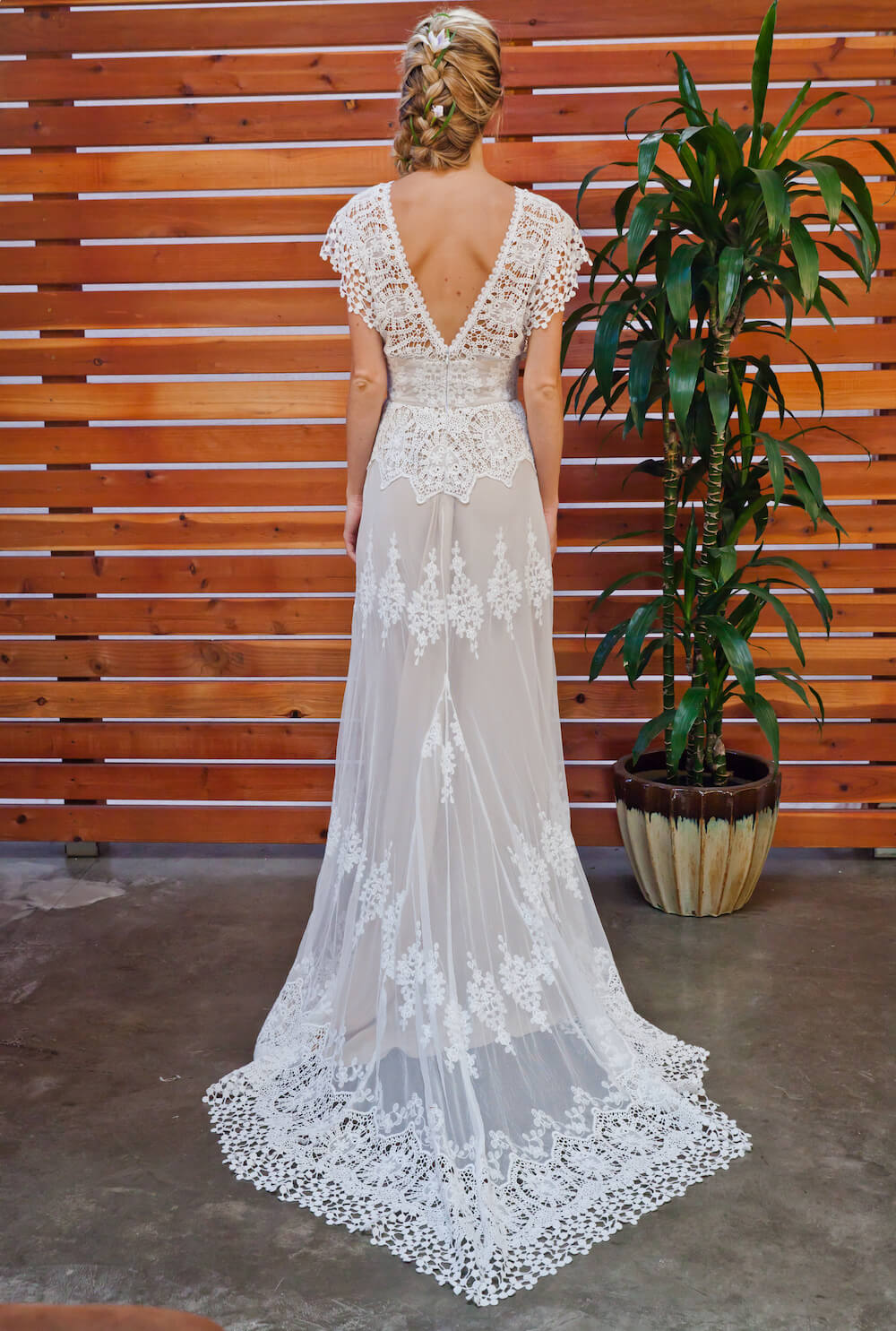 Azalea draped cotton lace wedding dress dreamers and lovers for Wedding dress display at home
