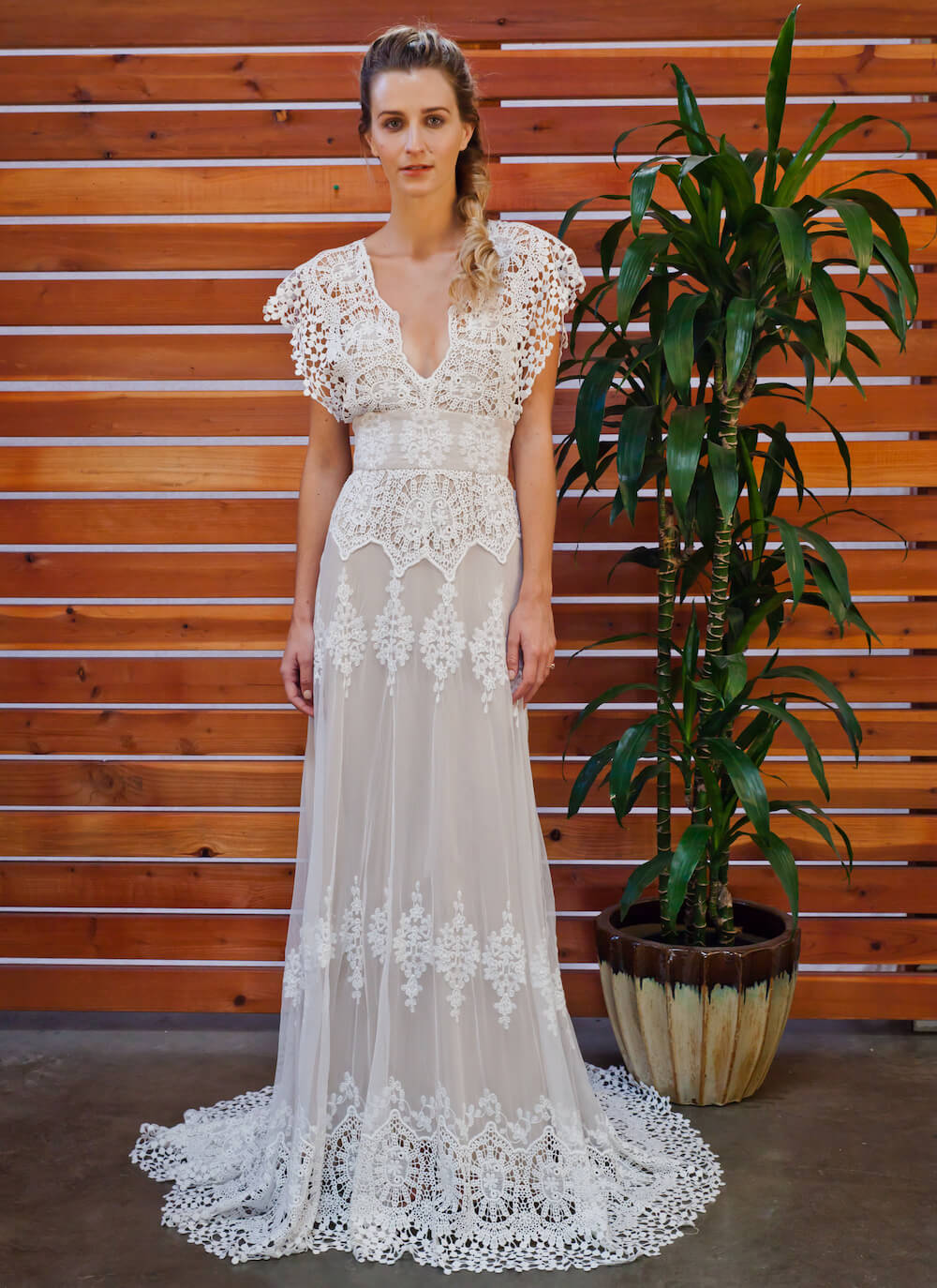 Azalea Draped Cotton Lace Wedding Dress