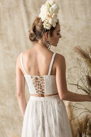 camelia silk bustier crop top 2 piece wedding dress