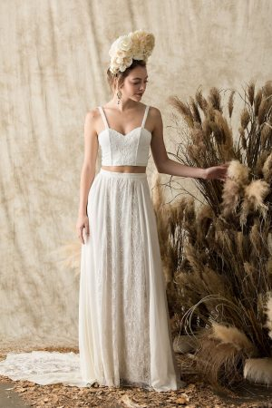 camelia silk two piece wedding dress crop top and skirt with train