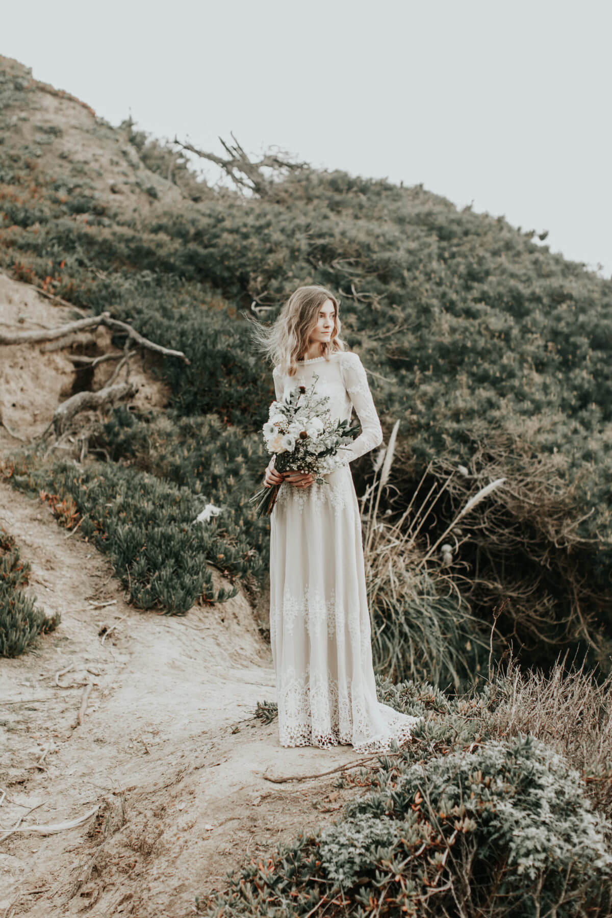 boho-bride-nelli-wearing-lisa-long-sleeve-wedding-dress-photographed-by-the-california-coast