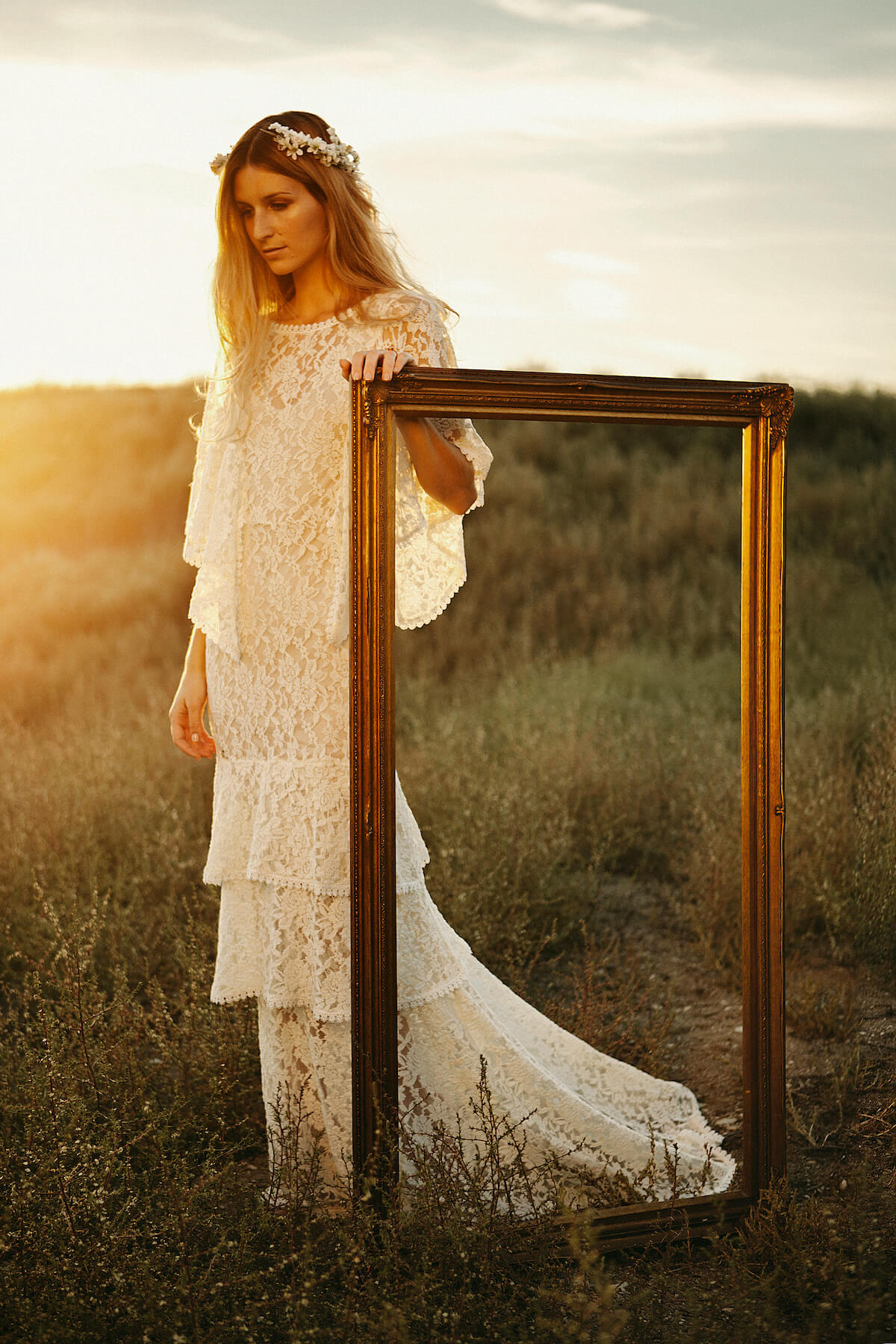 bohemian-ivory-lace-wedding-dress-with-draped-sleeves-and-tiers-for-casual-simple-wedding