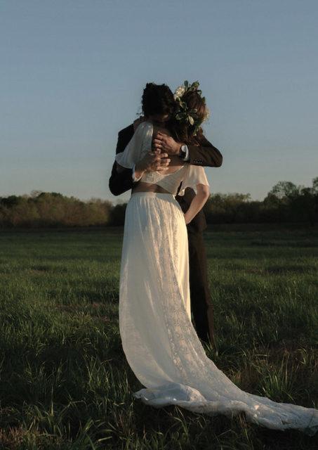 boho-bride-wearing-a-silk-2-piece-wedding-dress-for-her-rustic-wedding