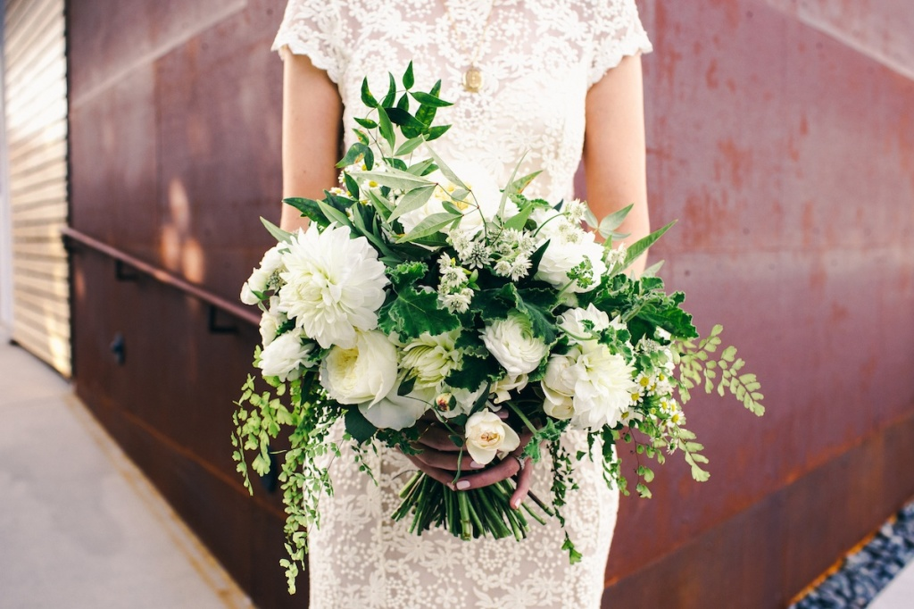 rustic-wildflower-green-wedding-bouquet-at-LA-venue-smog-shoppe